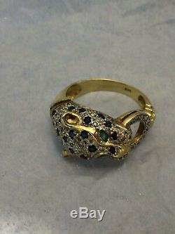 Diamond Panther Ring, Round Blue Sapphires And Marquise Emerald, 14K Yellow Gold