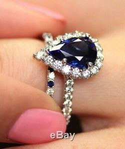 Engagement Weedding Ring Set 14k White Gold 2.30ct Blue Sapphire & Diamond