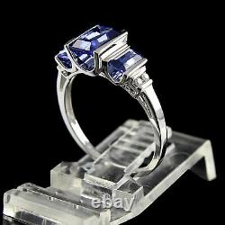 Estate 1.5 ct Baguette Cut Blue Sapphire With Diamond 14K Solid White Gold Ring