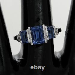 Estate 1.50 Ct Baguette Cut Blue Sapphire With Diamond 10K White Gold Ring