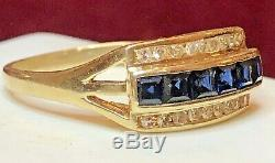 Estate Antique 14k Gold Natural Blue Sapphire & Diamond Band Ring Art Deco