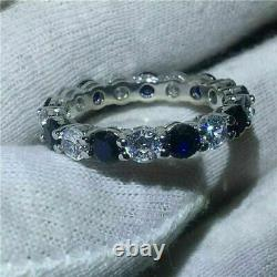 Full Eternity Ring 14K White Gold Over 2. Ct With Blue Sapphire Wedding Band Ring