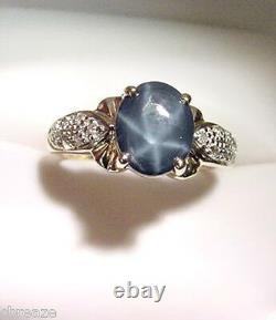 GENUINE BLUE STAR SAPPHIRE 1.90 CTS and DIAMONDS 14K GOLD RING