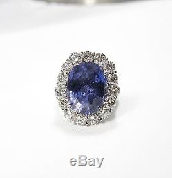 GIA 16.00CT Certified Untreated Blue Sapphire Diamond Ring 18K White Gold