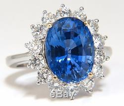 GIA Certified 7.39ct Natural Blue Sapphire Diamond Ring 18kt