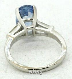 GIA certified Platinum 3.84CT VS1/F diamond & Blue sapphire cocktail ring size 6