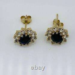 Genuine 9Carat (ct) Yellow Gold Blue Sapphire Cluster Stud Earrings New