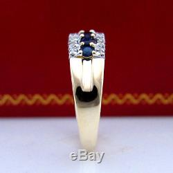 Genuine Natural Diamonds Blue Sapphire Solid Yellow Gold Engagement Wedding Ring