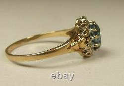 Gorgeous, Antique Victorian 9 Ct Gold Hearts Ring With Blue Sapphire & Diamonds