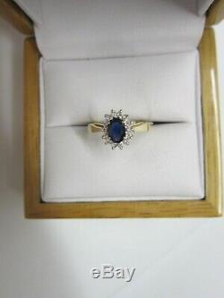 Gorgeous Estate 14 Kt Gold Blue Sapphire And Diamond Ring