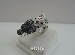 LARGE DRAGON RING With 7.50 CT DIAMONDS/RUBY/SAPPHIRE/SZ 5-9 /925 STERLING SILVER