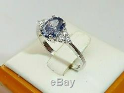 Ladies 925 Sterling Silver Oval Cut and White Sapphire Engagements Wedding Ring