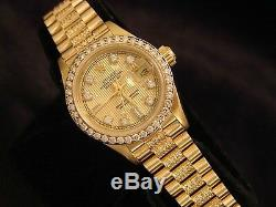 Ladies Rolex Datejust President 18K Yellow Gold Watch Diamond Dial, Bezel & Band