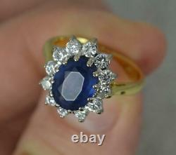 Lady Diana Blue Sapphire and 0.7ct Diamond 18ct Gold Cluster Ring