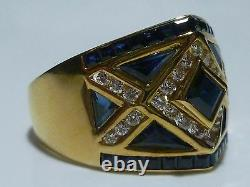 Large 18k Yellow Gold Levian Diamond & Blue Sapphire Cocktail Shield Ring Band