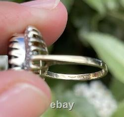 Large 7ct Sapphire And Twenty Four Diamond Cluster Ring 9ct Gold Vintage L 4.9g