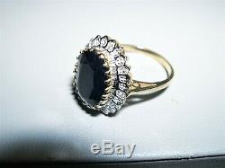 Large Yellow GoldSapphire SolitaireDiamond Oval Halo Ring7CTSSz 6.7510KT