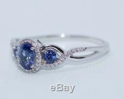 Le Vian 14k White Gold 3 Stone Blue Sapphire And Round Diamond Ring Size 10.75