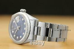 MENS ROLEX DATEJUST BLUE DIAMOND 18K WHITE GOLD/SS STEEL WATCH withOYSTER BAND