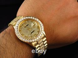 Mens 36 MM Rolex President 18038 18k Yellow Gold Day-Date with 11.5 Ct Diamond