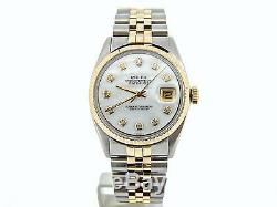 Mens Rolex 14k Gold/Stainless Steel Datejust Jubilee withWhite MOP Diamond Dial