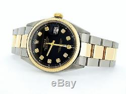 Mens Rolex 14k Yellow Gold/Stainless Steel Datejust withBlack Diamond Dial 1601