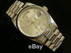 Mens Rolex 18k Yellow Gold Day Date President Watch FACTORY Diamond Dial 18038