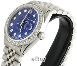 Mens Rolex 36mm DateJust Diamond Watch Jubilee Steel Band Custom Blue Dial 2 CT