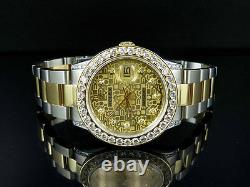Mens Rolex Datejust 2 Tone 18k Gold 36MM 16013 Oyster Band Diamond Watch 6.25 CT