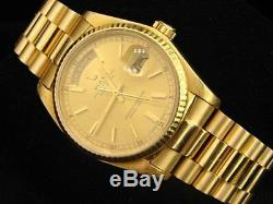 Mens Rolex Day-Date President 18K Yellow Gold Watch Champagne Quickset 18038