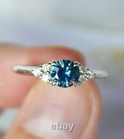 Montana Sapphire Ring with Diamonds 14K Gold, Teal Blue Sapphire Engagement Ring