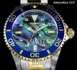 NEW Invicta Women 38mm PRO DIVER 0.03C DIAMOND ABALONE Dial Stainless St. Watch