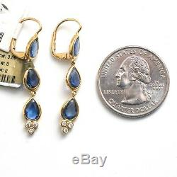 NWT Temple St Clair 18K Gold Three Drop Blue Sapphire and Diamond Earrings