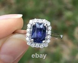 Natural Blue Purple Color Change Sapphire Diamond Ring Certified 14K White Gold