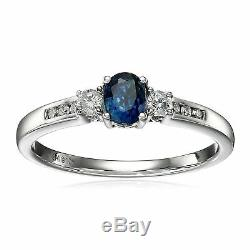 Natural Blue Sapphire & 1/6 ct Diamond Ring in 10K White Gold