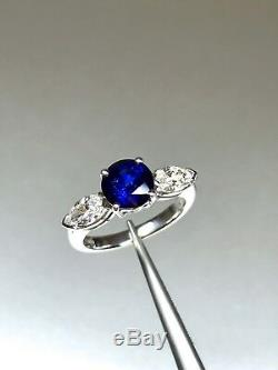 New 18ct White Gold 1.66ct Natural Blue Sapphire and 0.80ct Diamond Ring
