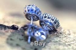 New 18ct White Gold 1.72ct Natural Blue Sapphire and 0.55ct Diamond Earrings