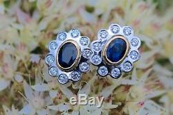 New 18ct White and Yellow Gold 1.18ct Blue Sapphire and 0.60ct Diamond Earrings