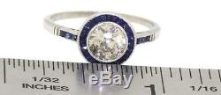 Platinum 1.40CTW diamond & Blue sapphire wedding/engagement ring size 6.75