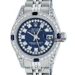 Pre-Owned Rolex Lady Datejust SS & 18K White Gold Blue Diamond & Sapphire Dial