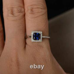 Princess Sapphire Halo Engagement Wedding Ring For Womens14K White Gold Over 3Ct