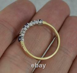 Quality 9 Carat Gold Sapphire and Diamond Half Eternity Five Stone Stack Ring