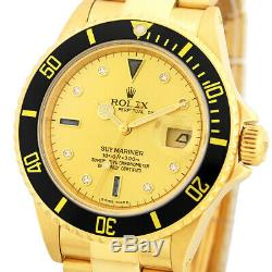 ROLEX 18K Yellow Gold Submariner Factory Diamond Sapphire Dial 16808 Warranty