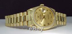 ROLEX 36mm 18kt Gold Day Date President Champagne Arabic 18238 SANT BLANC