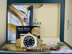 ROLEX 40mm Mens 18kt Yellow Gold YachtMaster Blue Index 16628 SANT BLANC