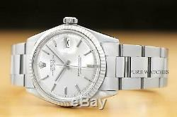 ROLEX MENS DATEJUST 1601 18K WHITE GOLD & STEEL SILVER DIAL WATCH withOYSTER BAND