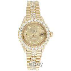 Rolex 18K Gold President 26mm DateJust 69178 VS Diamond Champagne Watch 4.46 CT