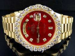 Rolex 18K Yellow Gold President Day-Date 18038 36MM Red Dial Diamond Watch 5