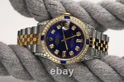 Rolex 36mm Datejust Blue 8+2 Diamond Accent Dial with Sapphire 2 Tone RT Watch