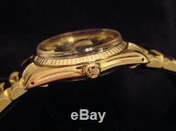 Rolex Date 15037 Men Solid 14K Yellow Gold Watch President Style Band Black Dial